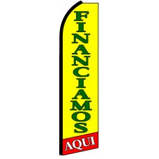 Financiamos Aqui - Yellow Advertising Feather Flag